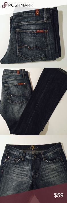 7 for all Mankind Bootcut Jeans Size 28 7 for all Mankind Bootcut Jeans. 32 inch inseam. Perfect Condition without flaws.   All items come from a smoke free home and are shipped on the same or following day an order is placed.   Items are shipped in polymailers placed INSIDE boxes to ensure all purchases are completely protected from damage or weather conditions. 7 For All Mankind Jeans Boot Cut