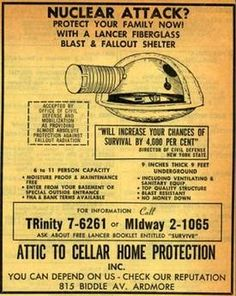 "Fallout shelter for sale in the Yellow Pages. ""Will increase your chances of survival by per cent""(Not really sure fibreglass would be too useful in a nuclear war."