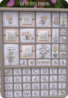 Casier d'imprimeur - partie droite Cross Stitch Love, Cross Stitch Finishing, Cross Stitch Charts, Cross Stitch Designs, Cross Stitch Patterns, Baby Embroidery, Ribbon Embroidery, Cross Stitch Embroidery, Print Box