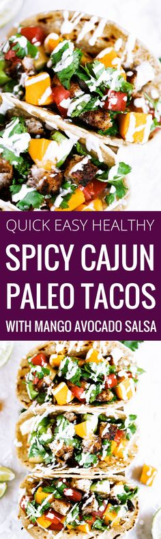 Healthy paleo Cajun tacos with fresh mango avocado salsa! Delicious, easy to make, and refreshing summer meal. Make whole30 by subbing this cassava flour tortilla for a lettuce leaf. Easy paleo dinner recipes. paleo recipes. paleo lunch. paleo meal planning. paleo meal prep. Healthy paleo meals. Healthy lunch recipes. Easy paleo recipes. Easy paleo dinner recipes. Healthy paleo lunch recipes. best fish taco recipe. paleo fish tacos. gluten free dairy free fish tacos.