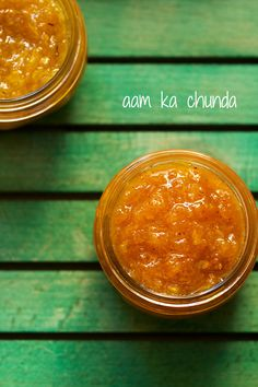 aam chunda recipe - spicy, sour and sweet mango preserve made with raw unripe mangoes and spices.