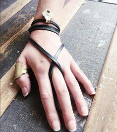 Black Leather || Brass || Twisted || JoJo Wrap