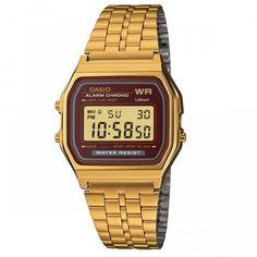 Great sale information Online Casio Vintage Collection Digital Unisex Bracelet Watch (Gold) Stainless Steel Watch, Stainless Steel Bracelet, Casio Gold, Digital Wrist Watch, Casio Classic, Shops, Retro, G Shock, Casio Watch