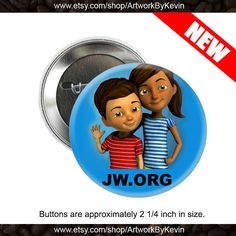 JW org 2 inch Button Custom Personalized Pinback on Etsy.com by ArtworkByKevin. If you order 24 or more pins they will each cost 75 cents. Less then 24 pins will be $1.50 each