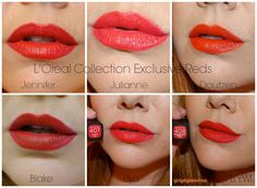 L'Oreal Collection Exclusive 2015 Red Lipsticks + Polishes Best Drugstore Red Lipstick, Mac Lipstick Swatches, Best Lipsticks, Drugstore Beauty, Red Lipstick Shades, Bright Red Lipstick, Orange Lipstick, Purple Shellac Nails, Extensions