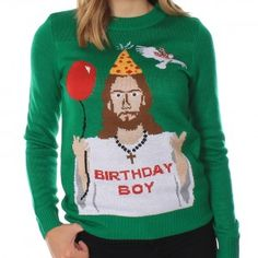 "Women's Happy Birthday Jesus Ugly Christmas Sweater  Happy birthday to you, happy birthday to you, happy birthday dear Savior!"" Wearing this funny (and slightly irreverent) Christmas sweater certainly reminds people of the reason for the season! Jesus is the Birthday Boy, with a balloon and a polka-dotted party hat to commemorate his special day. A white dove circles overhead, and the cheerful green background makes everything even more festive."