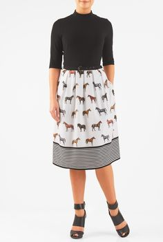 eShakti Women's Horse print belted mixed media dress 3X-24W Short Black/white multi. Back zip with rouleau-button closures, Elbow length sleeves, Seamed waist, Removable cotton knit belt, Side seam pockets, Below knee length, Lined skirt in polyester moss crepe, Bodice: Cotton/spandex, jersey knit, light stretch, light structured feel, midweight, Skirt: Polyester, woven crepe, digital print, soft drape, no stretch, lightweight, Machine wash cold, Model is wearing our size M/8, cut for her...