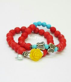 Orangered Beaded Bracelet // Boho // Diy Boho Bracelet // Idr 85.000 // more products on bystuffysyel.blogspot.com