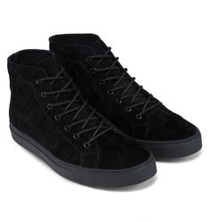 Perforated PU Suede High Top Sneakers by Zalora. Black perforated pu suede upper sneakers, with black color, stitching details, rubber sole, this all black shoes sure look super cool, simple shoes but cool, pair this cool shoes with your black skinny and denim jacket for street style. http://www.zocko.com/z/JI4ZO