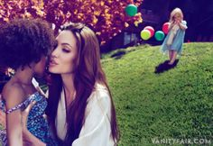 SWEET NOTHINGS Angelina Jolie with six-year-old Zahara (foreground) and three-year-old Vivienne, at home in Los Angeles.