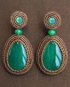 Japanese Green Teardrop Earrings