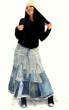 Recycling-M-L Denim Jeans Streetfashion langen Rock Hippie boho                                                                                                                                                                                 Mehr