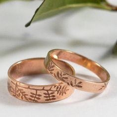 Botanical Wedding Bands In 9ct Rose Gold. Stylish wedding rings in 9ct Rose gold, textured with of your choice of Oak, Ash, Fern or Grape leaves. Available separately or as a set