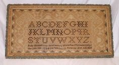 Rare Fine 19th C Vermont Alphabet Sampler By Sally Hemingway Born August 28th 1816
