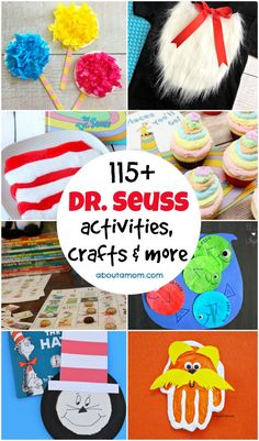It's Dr. Here's the ultimate list of Dr. Seuss activities, crafts and more. Grab your favorite Dr. Seuss book and get busy! Dr Seuss Art, Dr Seuss Crafts, Dr Seuss Week, Dr Suess, Toddler Crafts, Preschool Crafts, Crafts For Kids, Dr Seuss Activities, Activities For Kids