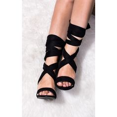 SpyLoveBuy Elektra Lace Up Block Heel Sandals Shoes Black Suede... (£32) ❤ liked on Polyvore featuring shoes, sandals, black, black block-heel sandals, black heel sandals, black lace up sandals, black high heel shoes and black suede shoes