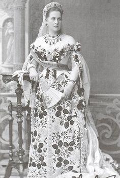 Queen Olga of Greece in Russian court dress
