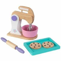 You and your Butterflies Doll friends will have a blast making all kinds of imaginary treats with our toy Baking Set! This classic wood toy set is a great addition to any play kitchen, including a stand mixer and bowl, rolling pin, baking sheet and two toy chocolate chip cookies.