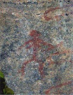 Rock painting made with red ochre at Astuvansalmi, Finland