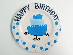 Hand Painted Ceramic Happy Birthday Plate