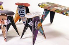 Create a piece of furniture from found objects. Upcycled furniture by Deckstool, made from broken skateboards