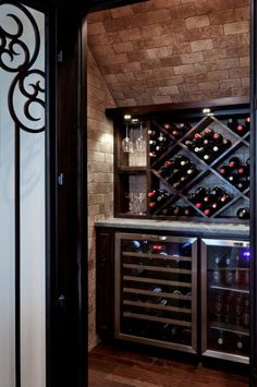 Wine closet under stairs