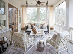 Glamorous Porch Swing Technique Atlanta Traditional Remodeling Ideas With Ceiling Fan Chrome Garden Stool Hanging Indoor Outdoor Living