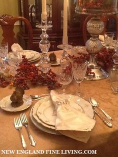 Thanksgiving Table Setting using white, silver, and gold