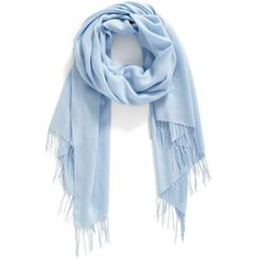 Women's Nordstrom Tissue Weight Wool & Cashmere Scarf (2 660 UAH) ❤ liked on Polyvore featuring accessories, scarves, blue cashmere, oblong scarves, fringe scarves, blue scarves, long scarves and fringe shawl