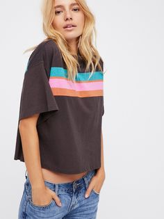 Need You Printed Tee   Retro-inspired essential cotton tee featuring multi-colored stripe detailing across the front.  * Mock neck * Easy, relaxed fit