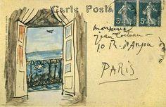 entry from whacher : virtual curio Pablo Picasso postcard to Jean Cocteau, St.-Raphaël Picasso postcard to Jean Cocteau, St. Pablo Picasso, St Raphael, Art And Illustration, Mail Art, Jean Cocteau, Envelope Art, Envelope Lettering, Hand Lettering, Claude Monet