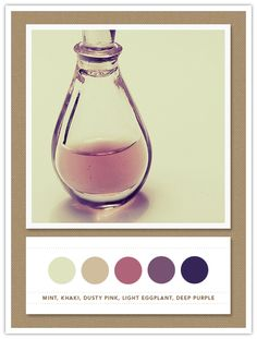 Colour Palette: mint, khaki, dusty pink, light eggplant, deep purple