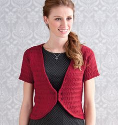 "Linked Jacket by Robyn Chachula, from her book Simply Crochet: 22 Stylish Designs for Every Day. Sizes up to 46"" bust. Good layering piece that can accentuate an hourglass figure nicely."