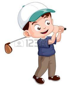 ilustración de joven jugador de golf.