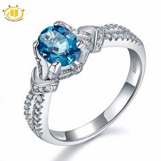 Hutang Solid 925 Sterling Silver Natural Gemstone London Blue Topaz Engagement Rings Fine Jewelry For Women Gift 2017 NEW. Yesterday's price: US $52.48 (45.30 EUR). Today's price: US $25.19 (21.86 EUR). Discount: 52%.