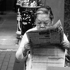 #blackandwhite #portrait #old #glasses #newspaper #reading #hongkong #china #streetphotography