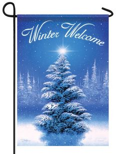 This peaceful winter themed house flag features a serene view of a lone evergreen tree in a clearing, all covered by soft, white snow, with gently falling snowflakes all around. Evergreen House, Evergreen Flags, Tree Garden, Xmas Tree, Christmas Tree Ornaments, Christmas Decor, Merry Christmas, Christmas Garden Flag, Names