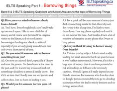 IELTS speaking band 9 model answers to the the Part 1 topic of Borrowing things. These questions are based on current topics from English Sentences, English Grammar, English Language, Question And Answer, This Or That Questions, English Study, Ielts, The Borrowers, Pakistani