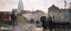 Guillaume Vogels. 1836-1896.  Ixelles, Rainy Morning. Bruxelles. Cityscapes, Painting, Fabrics, Brussels, Belgium, Fine Art Paintings, Painting Art, Paintings, Painted Canvas