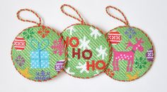 """Present Christmas Round by Kirk & Bradley Style: KB283 Size: 4"""" Mesh: 13    Ho Ho Ho Christmas Circle Green by Kirk & Bradley Style: KB285 Size: 4"""" Mesh: 13    Rudolf Christmas Round by Kirk & Bradley Style: KB282 Size: 4"""" Mesh: 13 ~ My finishing as seen on Facebook"""