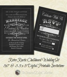 Vintage chalkboard wedding invitation chalkboard wedding rusticwedding chalkboard invitations save money and print yourself or we will be happy to solutioingenieria Choice Image