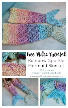 Rainbow Sparkle Mermaid Blanket – shell stitch mermaid pattern by MJ's off the Hook Designs Rainbow Sparkle Mermaid Blanket – … Crochet Mermaid Tail Pattern, Mermaid Blanket Pattern, Crochet Mermaid Blanket, Crochet Blanket Patterns, Crochet Blankets, Red Heart Crochet Patterns, Mermaid Blankets, Crochet Toddler, Crochet For Kids