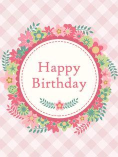Pink Flower Wreath Birthday Card