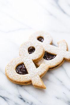 Ampersandwich Cookies (Peanut Linzer Cookies with Strawberry Chocolate Ganache)