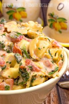 """This tortellini and veggie dinner goes together and anyone who tastes it will declare it """"the bomb."""" If you want a quick and very tasty meal, look no further than this dish! I have to admit I love my local store's variety of fresh pasta. Spinach And Tomato Tortellini, Tortellini Recipes, Creamy Spinach, Pasta Recipes, Dinner Recipes, Cooking Recipes, Healthy Recipes, Dinner Ideas, Cheese Tortellini"""