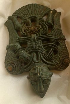A bronze piece from Uppakra, Sweden depicting Wayland wearing his cloak of feathers and flying. Wayland was a smith and inventor who fabricated fine objects and magical things, such as the sword Gram, that Sigurd used to kill Fafnir the dragon.