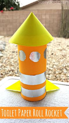 Here is a fun rocket toilet paper roll craft for kids to do! It is a great art project for boys.