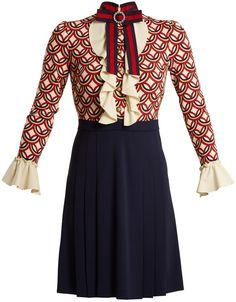Gucci Vintage Circle-print stretch-cady dress