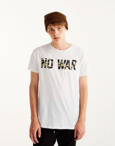 T-shirt with printed camouflage slogan - T-shirts - Clothing - Man - PULL&BEAR Canary Islands