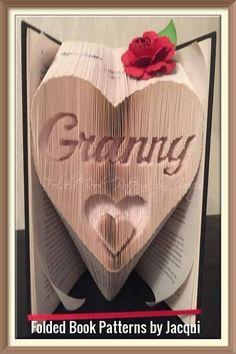 Granny in a Heart, Book Folding Pattern by JHBookFoldPatterns on Etsy